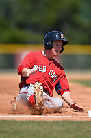 Boston Red Sox Danny Mars (40) slides into third during a minor league spring training game against the Baltimore Orioles on March 20, 2015 at Buck O'Neil Complex in Sarasota, Florida.  (Mike Janes/Four Seam Images)