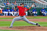 Great Falls Voyagers starting pitcher Bernardo Flores (27) delivers a pitch to the plate against the Ogden Raptors in Pioneer League action at Lindquist Field on August 17, 2016 in Ogden, Utah. Ogden defeated Great Falls 5-2. (Stephen Smith/Four Seam Images)