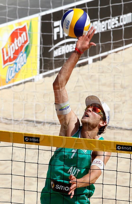Austria's Robin Seidl in action during the match between Italy and Austria at Beach Volleyball World Tour Grand Slam, Foro Italico, Rome, 21 June 2013.<br /> UPDATE IMAGES PRESS/Isabella Bonotto