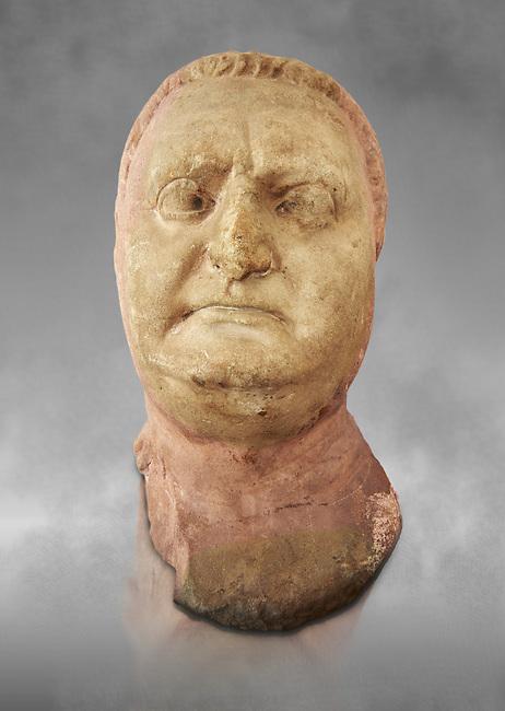 Roman sculpture of the Emperor Vitellius, excavated  from Althiburos sculpted circa 20 April 69-20 Dec 69AD. The Bardo National Museum, Tunis, Inv No: C.1784. Against a grey art background.