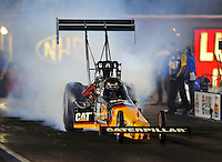 Oct. 31, 2008; Las Vegas, NV, USA: NHRA top fuel dragster driver Rod Fuller does a burnout during qualifying for the Las Vegas Nationals at The Strip in Las Vegas. Mandatory Credit: Mark J. Rebilas-