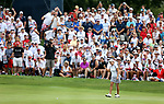 DES MOINES, IA - AUGUST 19: USA's Cristie Kerr reacts as her putt falls in the hole to win their match 5&3 Saturday at the 2017 Solheim Cup in Des Moines, IA. (Photo by Dave Eggen/Inertia)