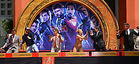 """LOS ANGELES, USA. April 23, 2019: Ken Feige, Chris Hemsworth, Chris Evans, Robert Downey Jr., Scarlett Johansson, Mark Ruffalo & Jeremy Renner at the handprint ceremony for the cast of """"Avengers: Endgame"""" at the TCL Chinese Theatre.<br /> Picture: Paul Smith/Featureflash"""
