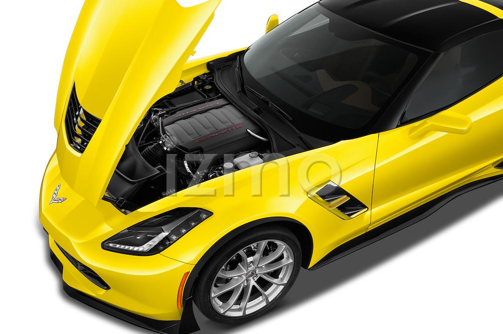 Car Stock 2017 Chevrolet Corvette Grand-Sport-2LT 3 Door Coupe Engine  high angle detail view