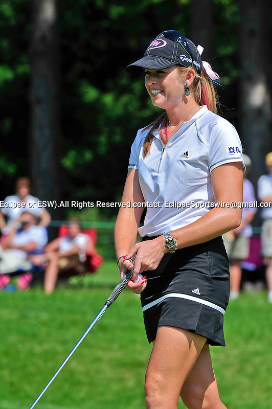 25 June 2009: Paula Creamer smiles after making a birdie during the first round of the Wegmans LPGA at the Locust Hill Country Club in Pittsford, New York.