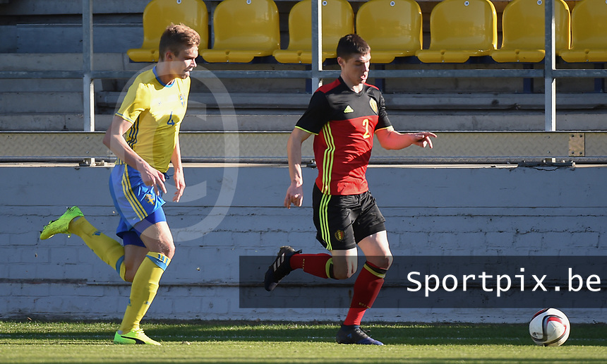 20170323 - BEVEREN , BELGIUM : Swedish Marcus Degerlund (L) and Belgian Kino Delorge (R) pictured during the UEFA Under 19 Elite round game between Sweden U19 and Belgium U19, on the first matchday in group 7 of the Uefa Under 19 elite round in Belgium , thursday 23 th March 2017 . PHOTO SPORTPIX.BE | DIRK VUYLSTEKE