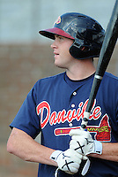 Outfielder Chase Larsson (43) of the Danville Braves, Appalachian League affiliate of the Atlanta Braves, prior to a game against the Johnson City Cardinals on August 19, 2011, at Howard Johnson Field in Johnson City, Tennessee. Danville defeated Johnson City, 5-4, in 16 innings. (Tom Priddy/Four Seam Images)