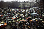 Downtown celebrations after the announcement of the Shah's departure result in huge traffic jams. Tehran, January 16, 1979.