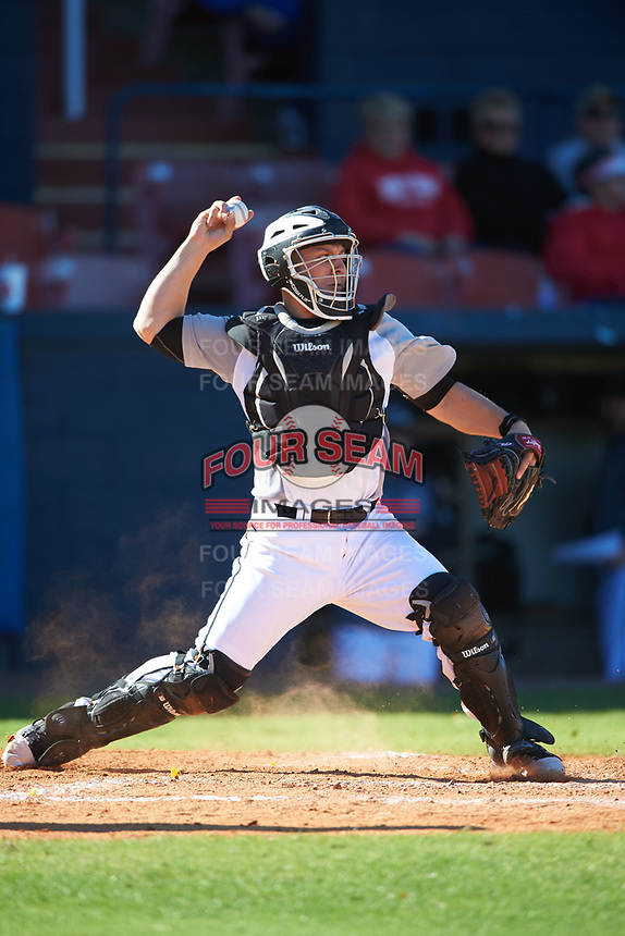 Wisconsin-Milwaukee Panthers catcher Daulton Varsho (10) throws down during a game against the Bethune-Cookman Wildcats on February 26, 2016 at Chain of Lakes Stadium in Winter Haven, Florida.  Wisconsin-Milwaukee defeated Bethune-Cookman 11-0.  (Mike Janes/Four Seam Images)