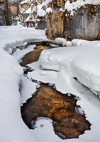 Yellowstone National Park, WY: Flowing water in Pebble Creek in Pebble Creek Canyon