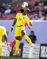 CLEVELAND, OH - JUNE 22: Torell Ondaan #17 heads the ball during a game between Panama and Guyana at FirstEnergy Stadium on June 22, 2019 in Cleveland, Ohio.
