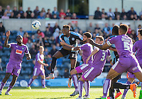Wycombe pile on the pressure during the Sky Bet League 2 match between Wycombe Wanderers and Plymouth Argyle at Adams Park, High Wycombe, England on 12 September 2015. Photo by Andy Rowland.