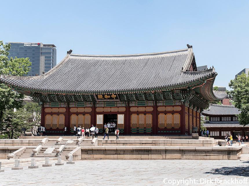 Halle der mittleren Harmonie Junghwajeon im Palast Deoksugung in Seoul, S&uuml;dkorea, Asien<br /> Hall of middle harmony Junghwajeon in palace Deoksugung, Seoul, South Korea, Asia