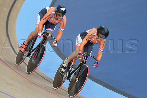 04.03.2016. Lee valley Velo Centre. London England. UCI Track Cycling World Championships Womens team sprint final.  Team Netherlands<br /> LIGTLEE Elis - VAN RIESSEN Laurine