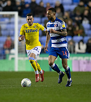 Reading's Lewis Baker (right) under pressure from Leeds United's Jack Harrison (left) <br /> <br /> Photographer David Horton/CameraSport<br /> <br /> The EFL Sky Bet Championship - Reading v Leeds United - Tuesday 12th March 2019 - Madejski Stadium - Reading<br /> <br /> World Copyright &copy; 2019 CameraSport. All rights reserved. 43 Linden Ave. Countesthorpe. Leicester. England. LE8 5PG - Tel: +44 (0) 116 277 4147 - admin@camerasport.com - www.camerasport.com