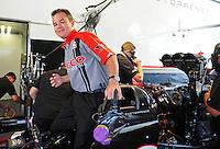 Jun. 2, 2012; Englishtown, NJ, USA: NHRA top fuel dragster driver Steve Torrence during qualifying for the Supernationals at Raceway Park. Mandatory Credit: Mark J. Rebilas-