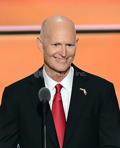 Governor Rick Scott (Republican of Florida) makes remarks at the 2016 Republican National Convention held at the Quicken Loans Arena in Cleveland, Ohio on Wednesday, July 20, 2016.<br /> Credit: Ron Sachs / CNP/MediaPunch<br /> (RESTRICTION: NO New York or New Jersey Newspapers or newspapers within a 75 mile radius of New York City)