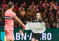 Rotterdam, The Netherlands, 18 Februari, 2018, ABNAMRO World Tennis Tournament, Ahoy, Singles final, Grigor Dimitrov (BUL) gets a towel from a ballgirl<br /> <br /> Photo: www.tennisimages.com