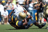 Keith Browner sacks Randy Wright. The University of California Berkeley Golden Bears defeated the UC Davis Aggies 52-3 in their home opener at Memorial Stadium in Berkeley, California on September 4th, 2010.