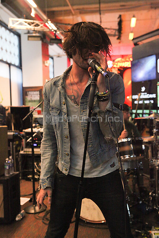 NEW YORK, NY - SEPTEMBER 10: Tyson Ritter of The All American Rejects performs live at the MLB Fan Cave Concert Series  on September 10, 2012 in New York City. © Diego Corredor/MediaPunch Inc.