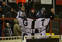 Grimsby Town Fans during the Vanarama National League match between Bromley and Grimsby Town at Hayes Lane, Bromley, England on 9 February 2016. Photo by Alan  Stanford.