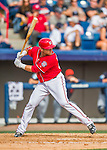 5 March 2016: Washington Nationals catcher Spencer Kieboom singles in the 7th inning of a Spring Training pre-season game against the Detroit Tigers at Space Coast Stadium in Viera, Florida. The Nationals defeated the Tigers 8-4 in Grapefruit League play. Mandatory Credit: Ed Wolfstein Photo *** RAW (NEF) Image File Available ***
