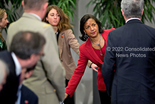 Susan Rice, United States national security advisor, arrives to the P5+1 multilateral meeting at the Nuclear Security Summit in Washington, D.C., U.S., on Friday, April 1, 2016.  After a spate of terrorist attacks from Europe to Africa, U.S. President Barack Obama is rallying international support during the summit for an effort to keep Islamic State and similar groups from obtaining nuclear material and other weapons of mass destruction. <br /> Credit: Andrew Harrer / Pool via CNP