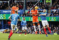 Blackpool's Nathan Delfouneso (top left) heads at goal<br /> <br /> Photographer Andrew Kearns/CameraSport<br /> <br /> The EFL Sky Bet League One - Portsmouth v Blackpool - Saturday 12th January 2019 - Fratton Park - Portsmouth<br /> <br /> World Copyright © 2019 CameraSport. All rights reserved. 43 Linden Ave. Countesthorpe. Leicester. England. LE8 5PG - Tel: +44 (0) 116 277 4147 - admin@camerasport.com - www.camerasport.com