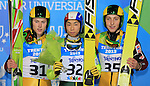Podium of the Nordic Combined Mass Start 10 km / NH with Adam Cieslar, Aguri Shimizu, Pawel Slowick as part of the Winter Universiade Trentino 2013 on 16/12/2013 in Predazzo, Italy.<br /> <br /> &copy; Pierre Teyssot - www.pierreteyssot.com