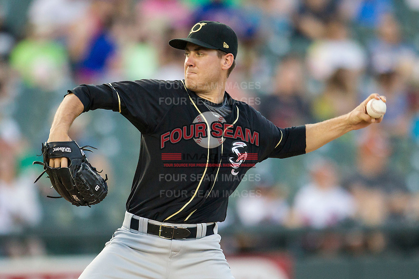 Omaha Storm Chasers pitcher Justin Marks (37) delivers a pitch to the plate during the Pacific Coast League baseball game against the Round Rock Express on June 1, 2014 at the Dell Diamond in Round Rock, Texas. The Express defeated the Storm Chasers 11-4. (Andrew Woolley/Four Seam Images)