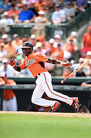 Baltimore Orioles second baseman Jemile Weeks (1) during a spring training game against the Pittsburgh Pirates on March 23, 2014 at Ed Smith Stadium in Sarasota, Florida.  Baltimore and Pittsburgh tied 7-7.  (Mike Janes/Four Seam Images)