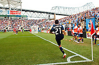 Michael Farfan (21) of the Philadelphia Union takes a corner kick. The Philadelphia Union defeated Toronto FC 3-0 during a Major League Soccer (MLS) match at PPL Park in Chester, PA, on July 8, 2012.