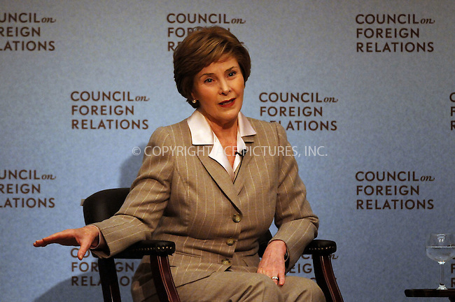 WWW.ACEPIXS.COM . . . . . ....December 10 2008, New York City....First Lady Laura Bush spoke at a meeting of the Council on Foreign Relations at The Harold Pratt House on December 10 2008 in New York City....Please byline: KRISTIN CALLAHAN - ACEPIXS.COM.. . . . . . ..Ace Pictures, Inc:  ..tel: (212) 243 8787 or (646) 769 0430..e-mail: info@acepixs.com..web: http://www.acepixs.com