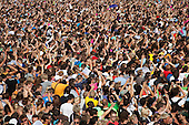 Loveparade 2010, Duisburg, Germany, huge crowds celebrate before tragic events marred the techno festival.