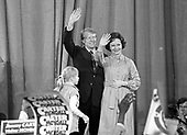 "United States President-elect Jimmy Carter, and his wife, Rosalynn, wave to the crowd at an election night rally as he arrives to claim victory over US President Gerald R. Ford in Atlanta, Georgia on November 3, 1976.  <br /> Credit: Benjamin E. ""Gene"" Forte / CNP"