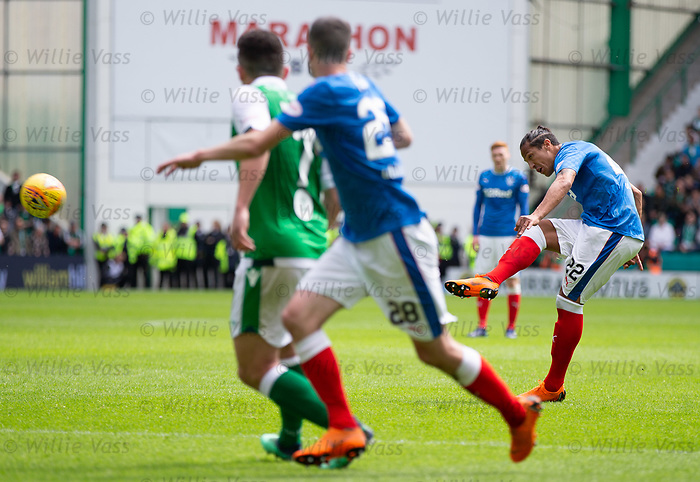 13.05.2018 Hibs v Rangers: Bruno Alves scores for Rangers from a free kick