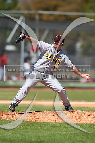February 28, 2010:  Pitcher Phil Isaksson of the Minnesota Golden Gophers during the Big East/Big 10 Challenge at Raymond Naimoli Complex in St. Petersburg, FL.  Photo By Mike Janes/Four Seam Images