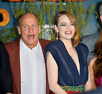 "LOS ANGELES, USA. October 11, 2019: Woody Harrelson & Emma Stone at the premiere of ""Zombieland: Double Tap"" at the Regency Village Theatre.<br /> Picture: Paul Smith/Featureflash"