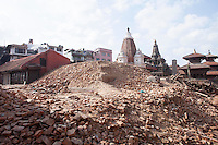 Rubble of destroyed structures of Pathan Dorbar Square in Kathmandu, Nepal.