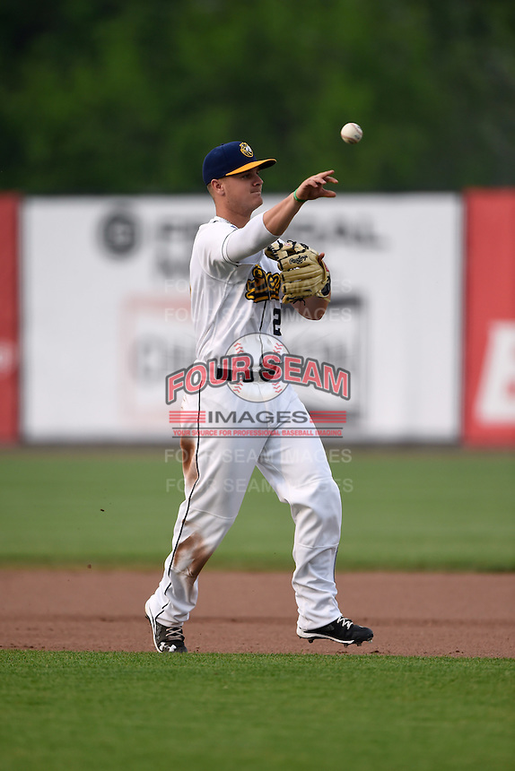 Burlington Bees second baseman Brendon Sanger (23) throws to first during a game against the Bowling Green Hot Rods on May 7, 2016 at Community Field in Burlington, Iowa.  Bowling Green defeated Burlington 11-1.  (Mike Janes/Four Seam Images)