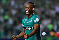 PALMIRA - COLOMBIA, 06-03-2020: Andres Balanta del Cali celebra después de anotar el primer gol de su equipo durante partido entre Deportivo Cali y Deportivo Pereira por la fecha 8 de la Liga BetPlay DIMAYOR I 2020 jugado en el estadio Deportivo Cali de la ciudad de Palmira. / Andres Balanta of Cali celebrates after scoring the first goal of his team during match between Deportivo Cali and Deportivo Pereira for the date 8 as part of BetPlay DIMAYOR League I 2020 played at Deportivo Cali stadium in Palmira city. Photo: VizzorImage / Nelson Rios / Cont