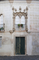 beautiful house facade evora alentejo portugal