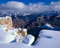 Grand Canyon National Park, AZ   <br /> Clearing winter storm and fresh snow on the South Rim near Mather Point