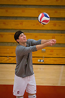 STANFORD, CA - January 2, 2018: Jake Stuebner at Burnham Pavilion. The Stanford Cardinal defeated the Calgary Dinos 3-1.
