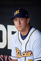 Montgomery Biscuits first baseman Joe McCarthy (31) in the dugout before a game against the Mississippi Braves on April 24, 2017 at Montgomery Riverwalk Stadium in Montgomery, Alabama.  Montgomery defeated Mississippi 3-2.  (Mike Janes/Four Seam Images)