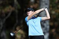 CHAPEL HILL, NC - OCTOBER 11: Kayla Smith of the University of North Carolina tees off at UNC Finley Golf Course on October 11, 2019 in Chapel Hill, North Carolina.