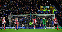Lincoln City players, from left, Harry Anderson, Neal Eardley, Michael Bostwick, Josh Vickers and Tom Pett react after Everton's Ademola Lookman had scored the opening goal<br /> <br /> Photographer Chris Vaughan/CameraSport<br /> <br /> Emirates FA Cup Third Round - Everton v Lincoln City - Saturday 5th January 2019 - Goodison Park - Liverpool<br />  <br /> World Copyright &copy; 2019 CameraSport. All rights reserved. 43 Linden Ave. Countesthorpe. Leicester. England. LE8 5PG - Tel: +44 (0) 116 277 4147 - admin@camerasport.com - www.camerasport.com