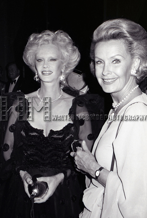 Monique Van Vooren and Dina Merrill attend the Friars Club honoring Cary Grant as their Man of the Year on May 16, 1982 at the Waldorf Astoria in New York City.