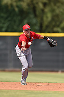 Los Angeles Angels of Anaheim shortstop Jake Yacinich (7) during an Instructional League game against the Milwaukee Brewers on October 9, 2014 at Tempe Diablo Stadium Complex in Tempe, Arizona.  (Mike Janes/Four Seam Images)