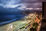 BRAZIL, Rio de Janiero, an evening view of Ipanema Beach which is located bewteen Leblon and Arpoador